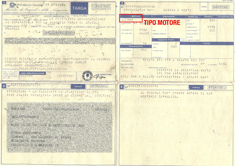 Carta di circolazione motore nuova destro autodemolizioni - Carta specchio dove si compra ...